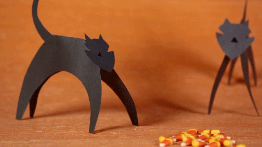 Halloween Kid Craft Paper Cat