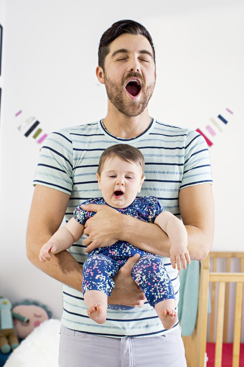 Father and Son Yawning