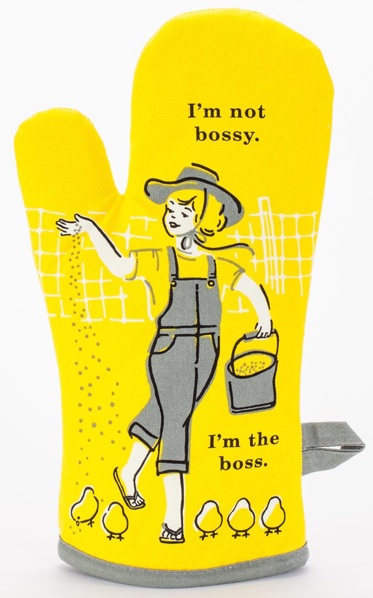 Always Fits Curse Word Oven Mitts: I'm not bossy. I'm the boss.