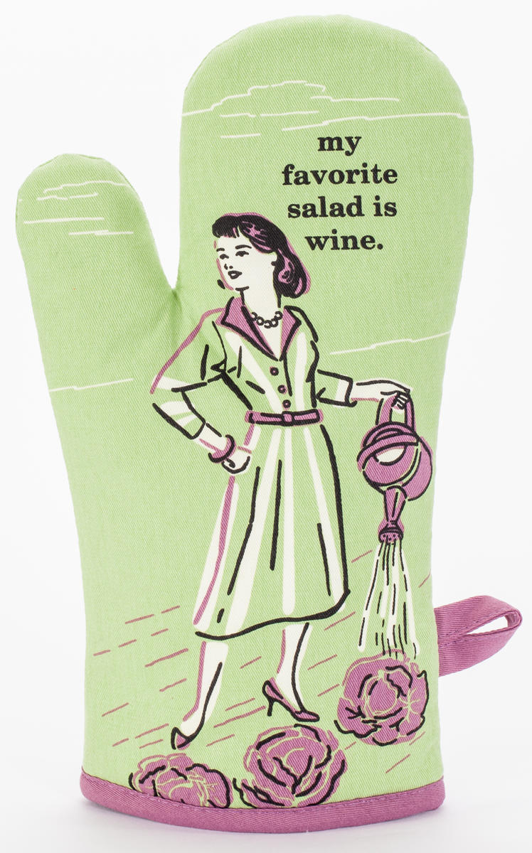 Always Fits Curse Word Oven Mitts: My favorite salad is wine