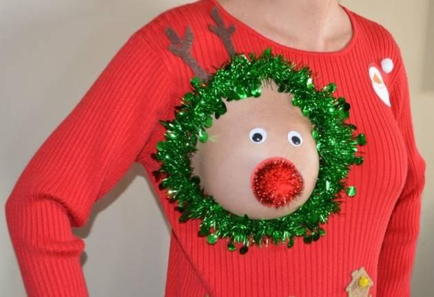 Ugly Christmas sweater for breastfeeding moms