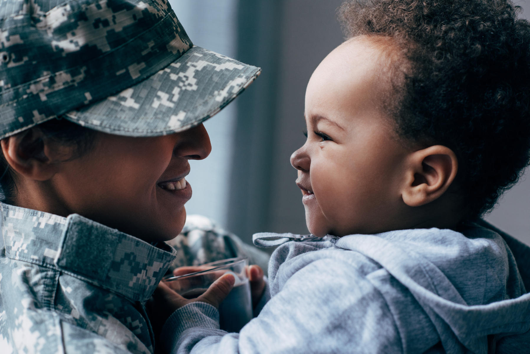 Military mom and her son