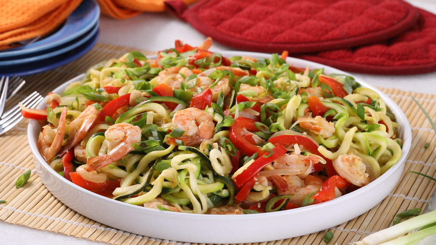 Whole 30: Ginger Shrimp and Zucchini-Noodle Stir-Fry