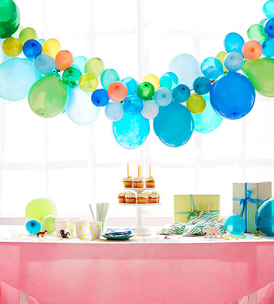 Birthday party balloon ideas for 1 year birthday decoration