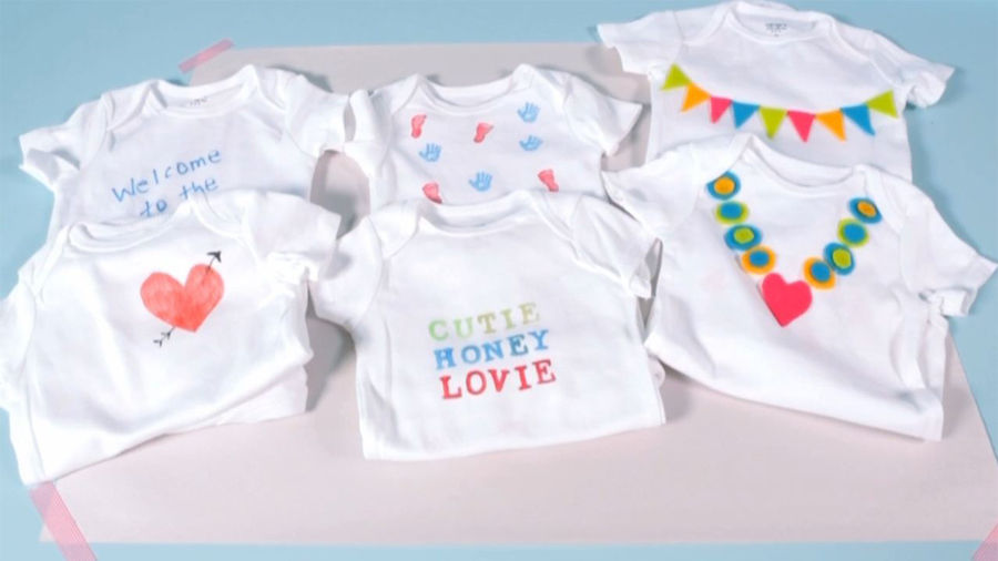 Baby shower ideas how to set up a onesie decorating