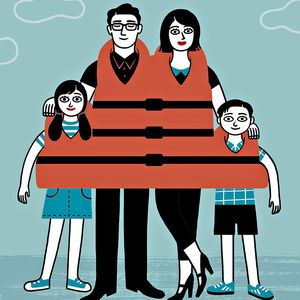 Cartoon Family Wearing Life Vest