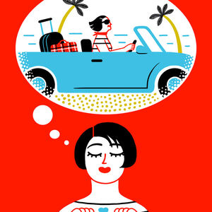 Cartoon Woman Imagining a Nice Car