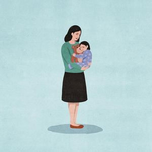Real Faces of Child Abuse Illustration of Mother Holding Child