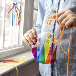 Sun Catcher Craft with Yarn and Laminate