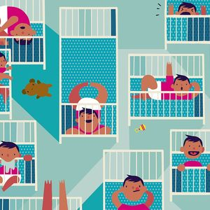 Baby Is Not Sleeping Playing In Crib Illustration