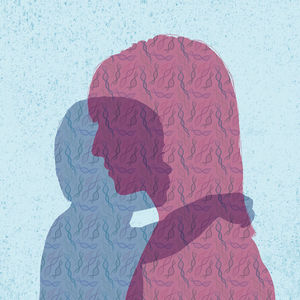Silhouette of Parent and Child Facing Each Other Illustration