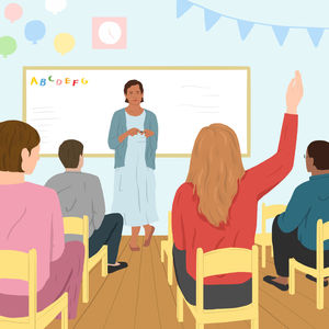 teacher in classroom and students sitting raising hands illustration