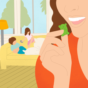 Mother Eating Weed Gummie Edibles Illustration