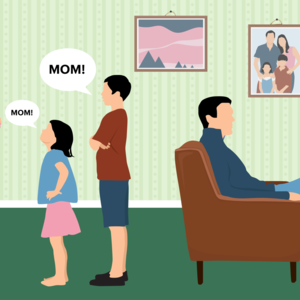 kids calling mom while dad watches TV illustration