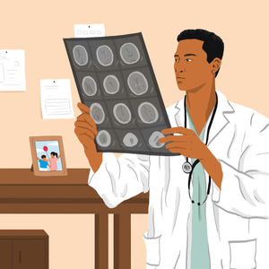 doctor looking at xray illustration