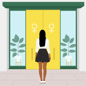 illo woman at egg freezing boutique