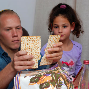 Father and daughter passover seder
