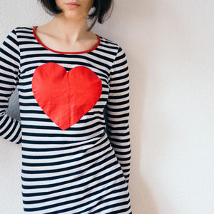 Woman Wearing Heart Shirt for Valentine's Day