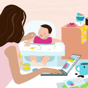 Illo mom feeding baby while working