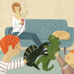 illustration of mom watching kids play with dinosaurs