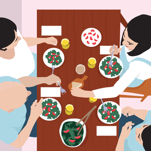 overview of family eating at dinner table illustration