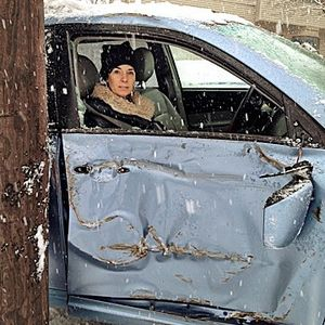 Liz Vaccariello Inside Crashed Car