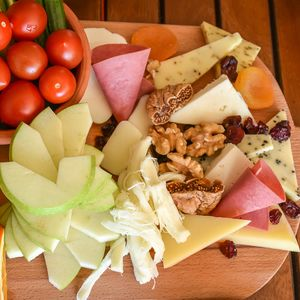 vegetable and cheese platter snack board