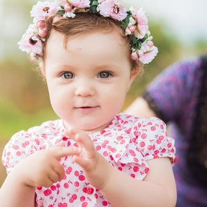 little girl with flower crown