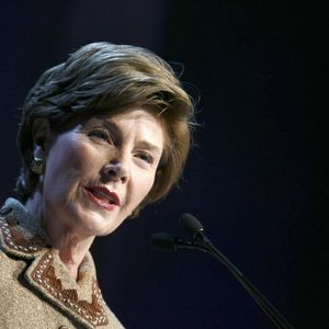 Laura Bush Speaking in Microphone