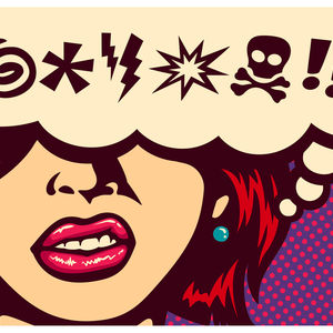 Pop art style comics panel angry woman with speech bubble and swear words symbols