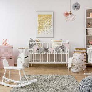 girl nursery pink gold gray theme