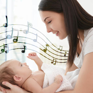 mother looking babys eyes music notes flow