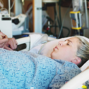 woman in labor in hospital