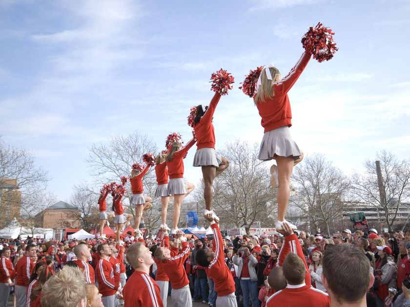 Cheerleading Squad Outside Event Cheering