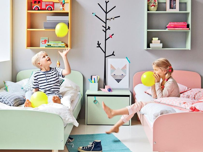 Kids In Fresh Paint Bedroom Playing With Balloons
