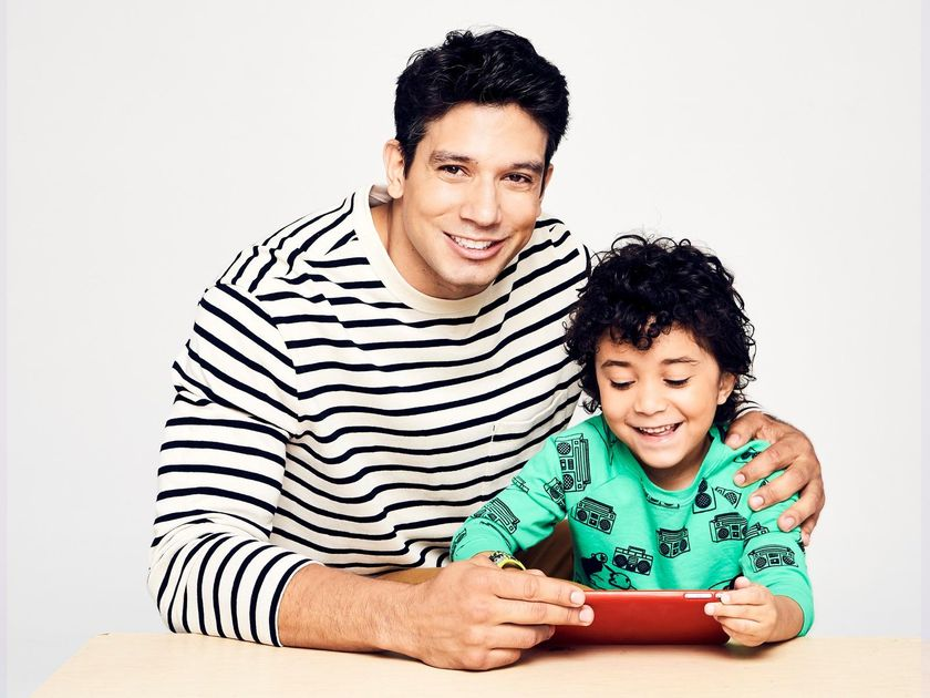 Father and Son on Tablet