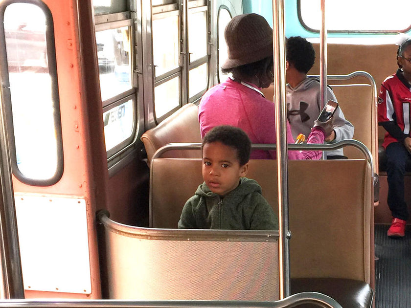 Nic Stone's Son Sitting on the Bus