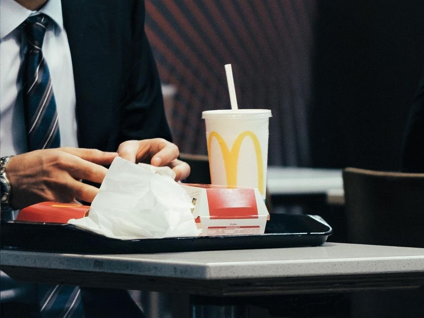 McDonald's Drink Plastic Straw and Food