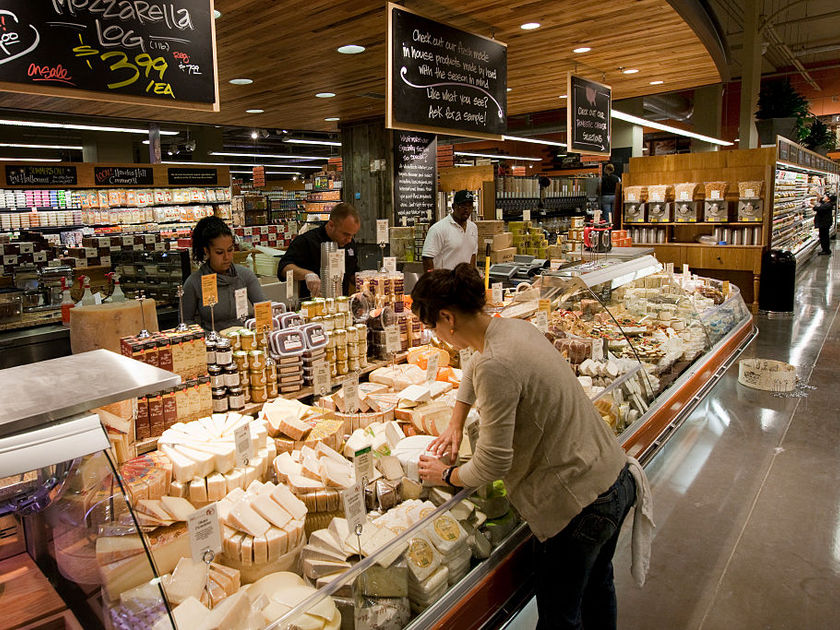 cheese display at whole foods