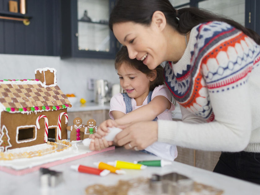 Classic holiday traditions: decorating gingerbread houses