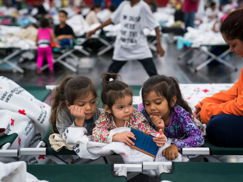 Hurricane Harvey kids at shelter