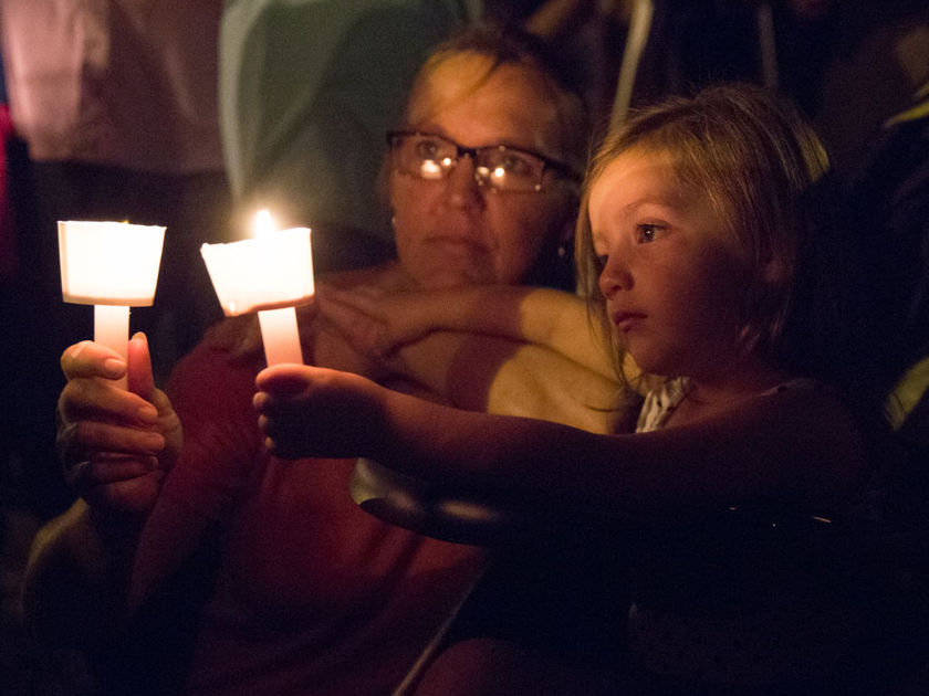 A candlelight vigil is observed for victims of the First Baptist Church in Sutherland Springs, Texas