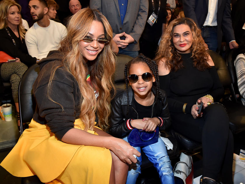Beyonce Knowles Blue Ivy and Tina Knowles-Lawson Sitting Courtside