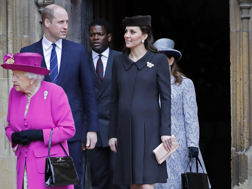 Pregnant Kate Middleton and Prince William on Easter