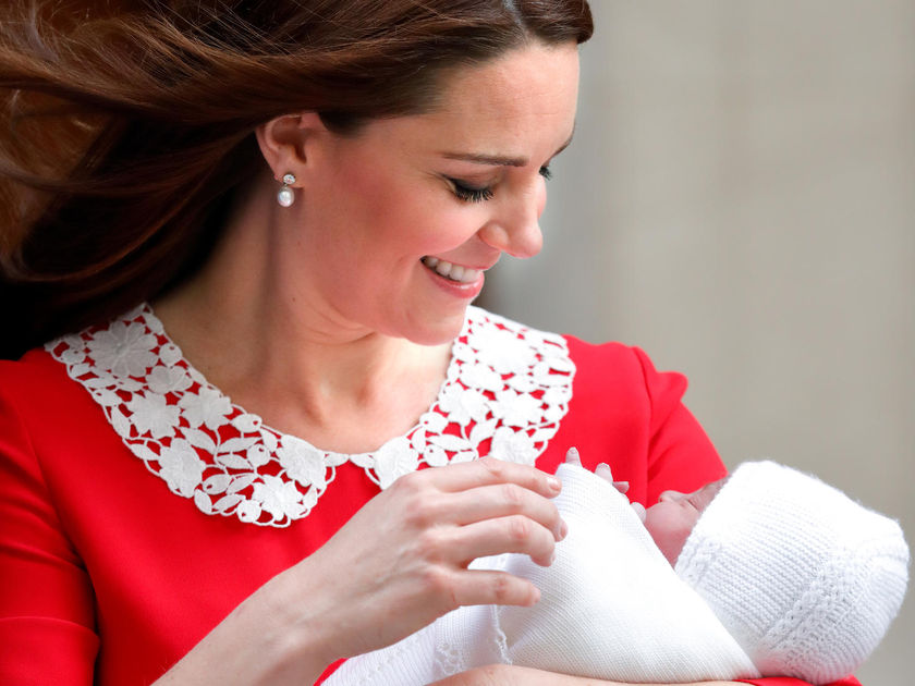 Kate Middleton Pearl Earrings Red Dress Third Child Newborn Son