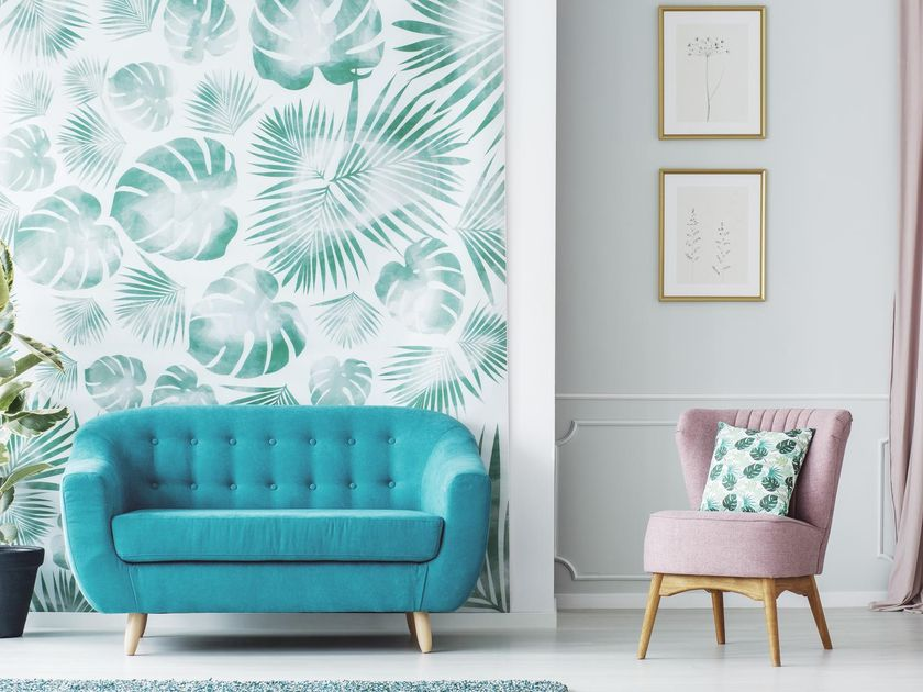 Living Room Plant Wallpaper Turquoise Couch Mauve Pink Chair