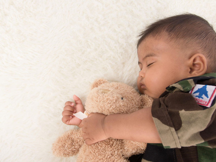 Baby Sleeping Teddy Bear Wearing Airforce Shirt