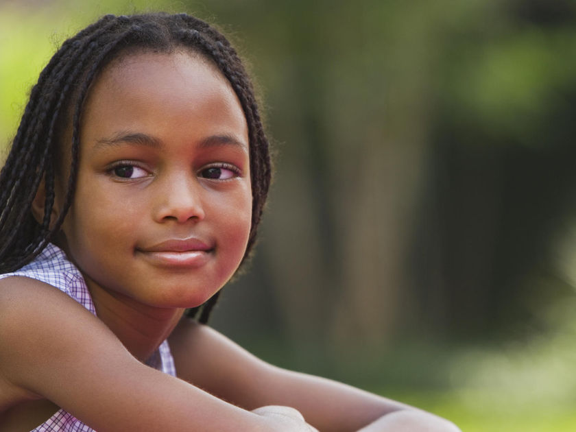 Portrait of African girl outdoors