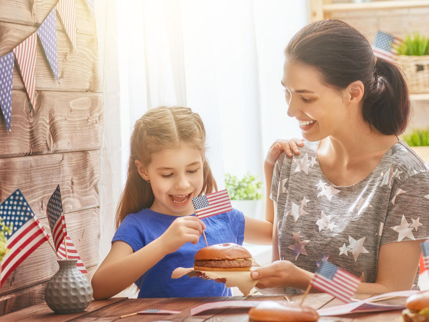 Mother and Daughter July 4th Celebrate Burgers and Flag