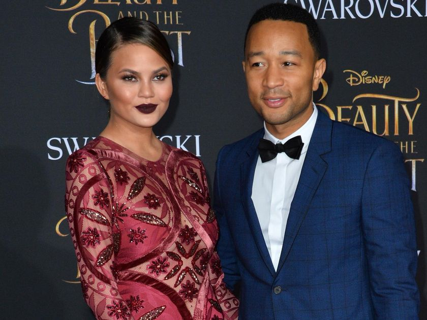Chrissy Teigen Dark Lipstick and John Legend